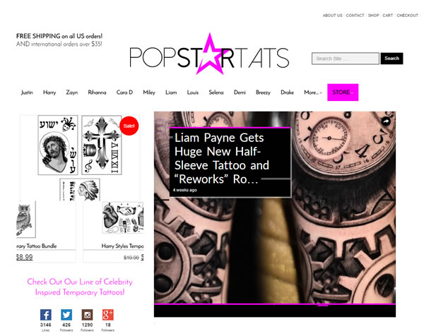 PopStarTats.com – Advertising & Ecommerce Driven Publishing Medium