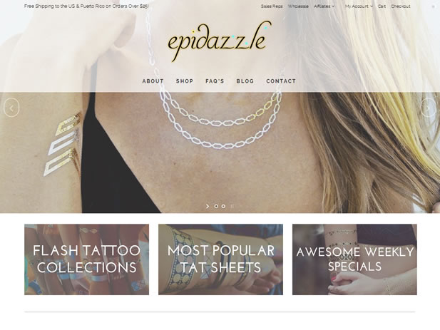 Epidazzle – Metallic Flash Tattoo Ecommerce Website